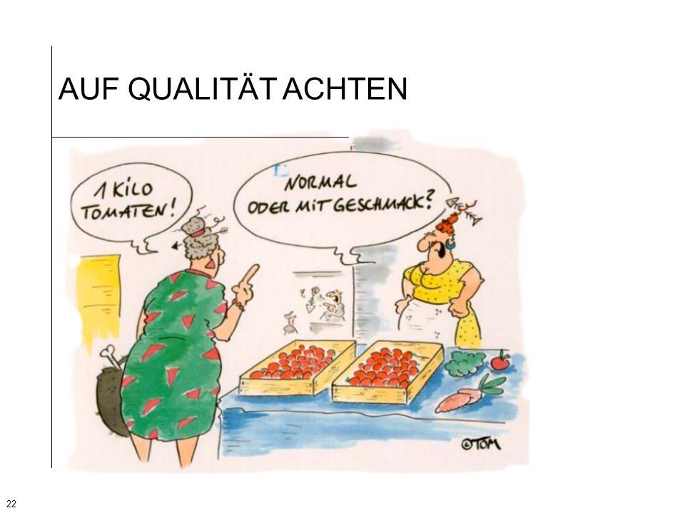 AUF QUALITÄT ACHTEN Anhand dieser Karikatur wird das Thema «Qualität von Obst und Gemüse» noch einmal verdeutlicht.
