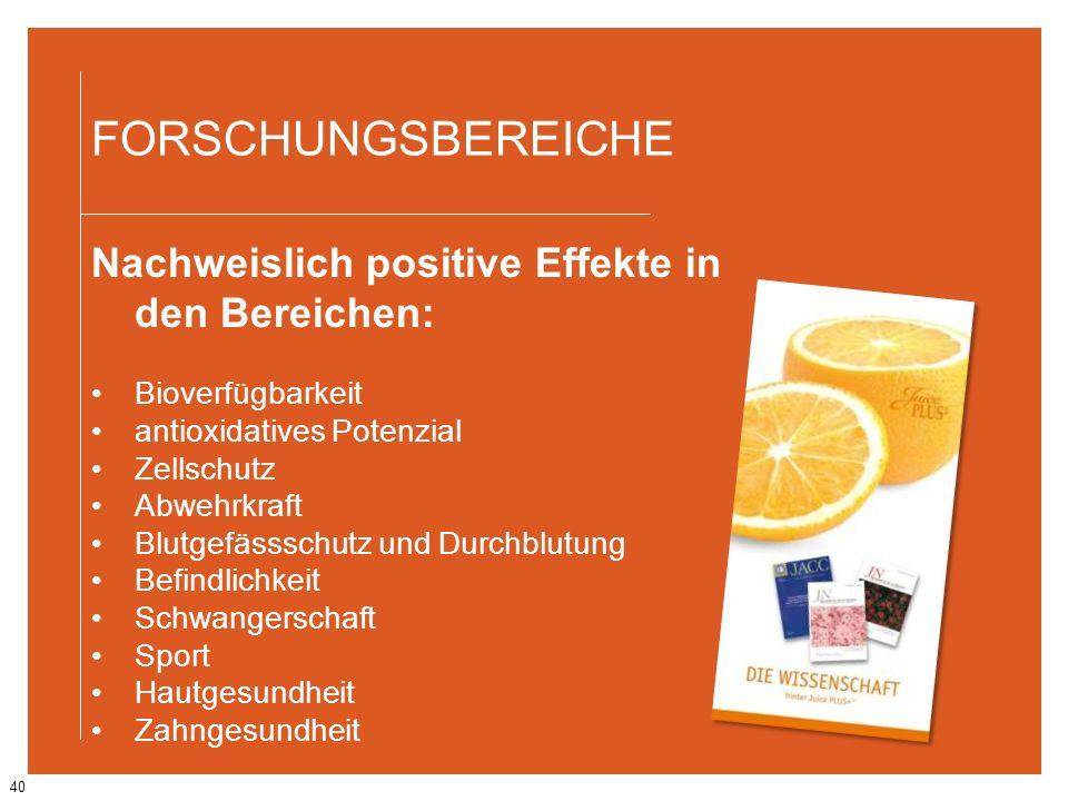 FORSCHUNGSBEREICHE Nachweislich positive Effekte in den Bereichen: