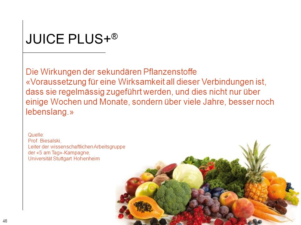 JUICE PLUS+® Die Wirkungen der sekundären Pflanzenstoffe