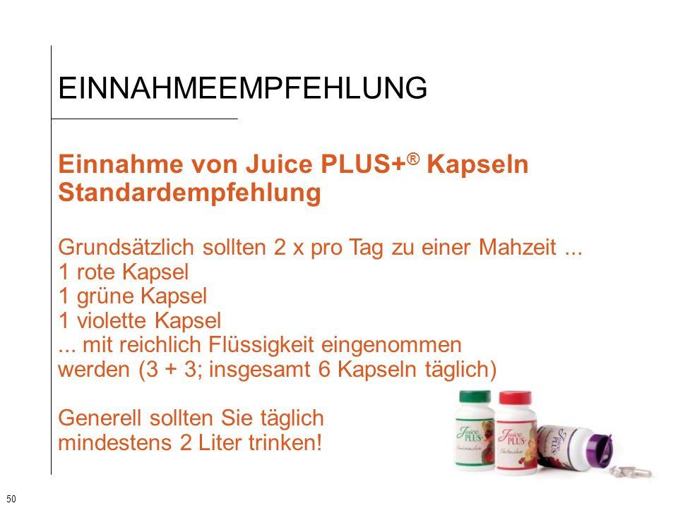 EINNAHMEEMPFEHLUNG Einnahme von Juice PLUS+® Kapseln