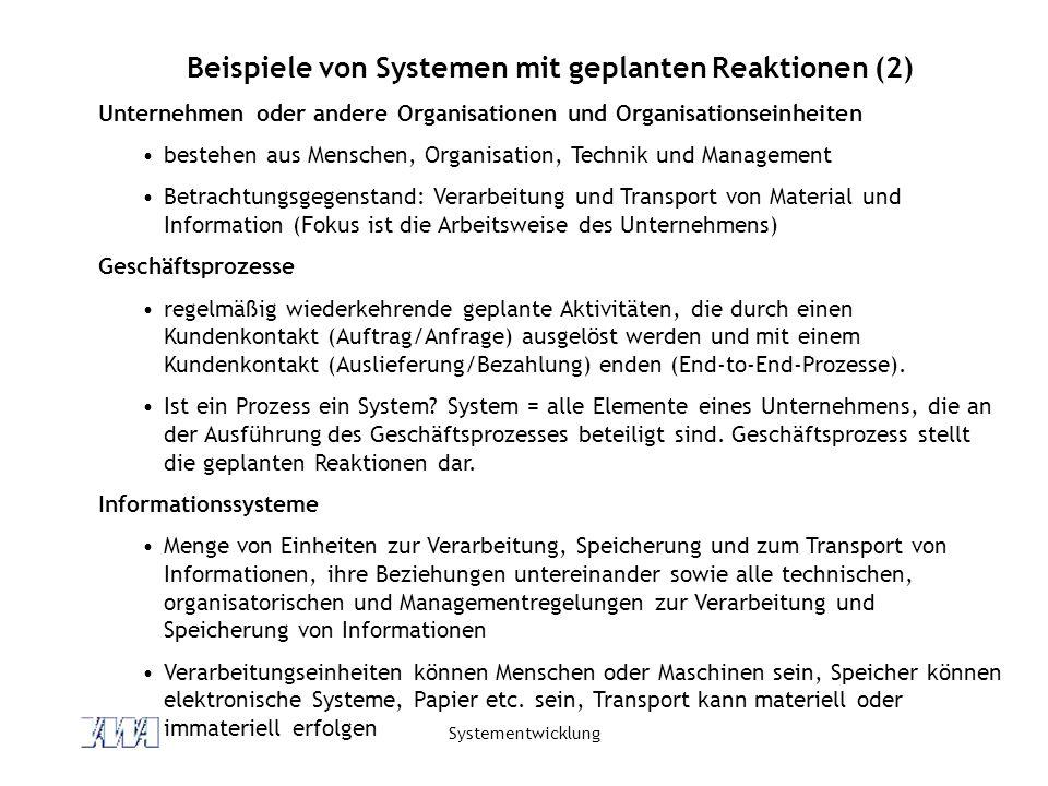 Beispiele von Systemen mit geplanten Reaktionen (2)