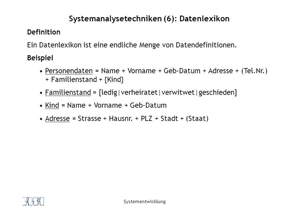 Systemanalysetechniken (6): Datenlexikon