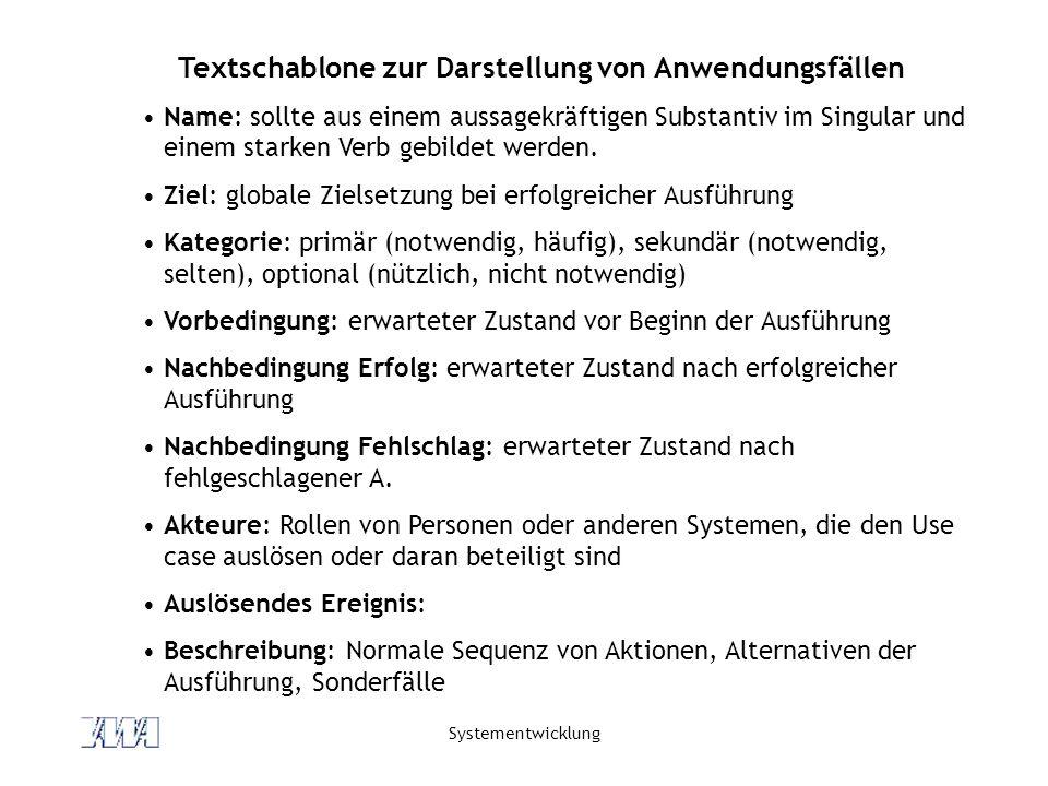 Textschablone zur Darstellung von Anwendungsfällen