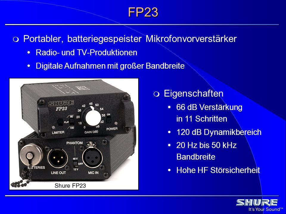 FP23 Portabler, batteriegespeister Mikrofonvorverstärker Eigenschaften