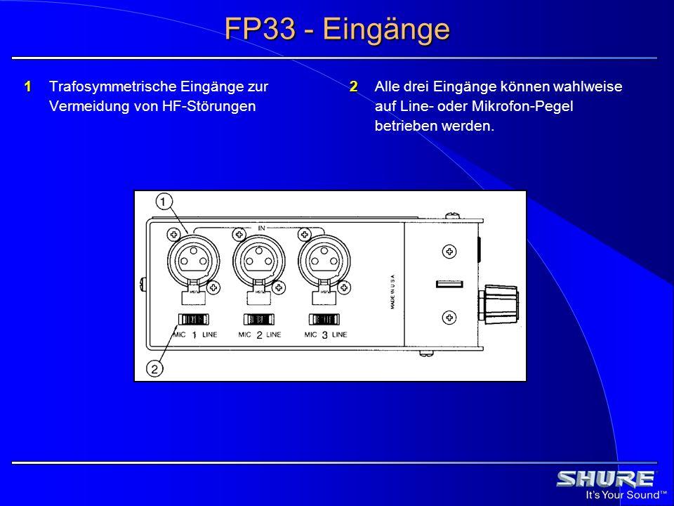 FP33 - Eingänge 1 Trafosymmetrische Eingänge zur Vermeidung von HF-Störungen.