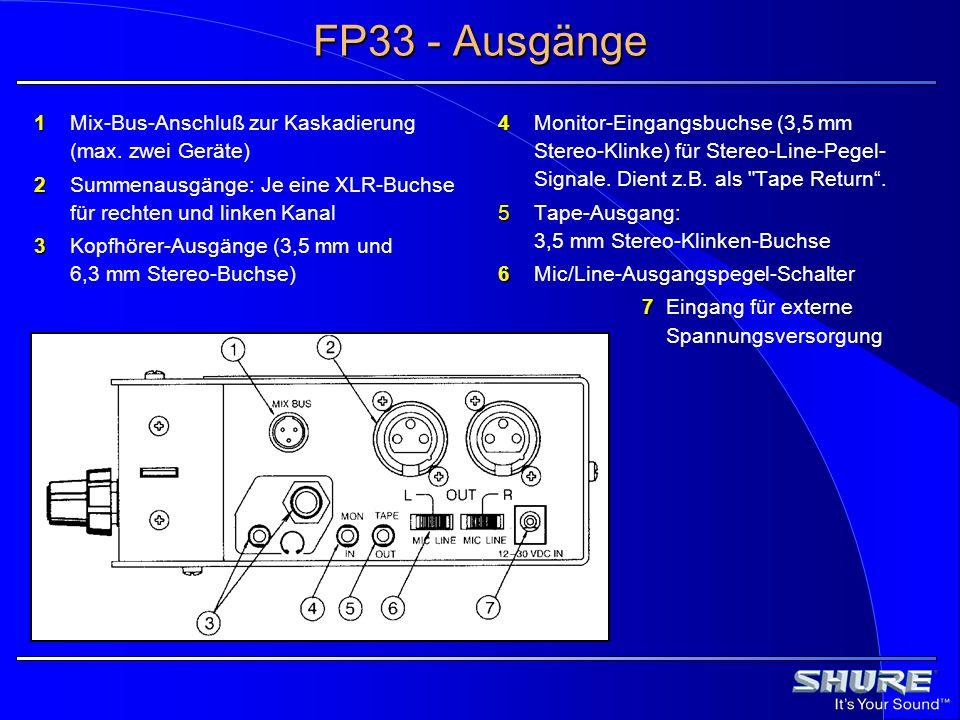 FP33 - Ausgänge 1 Mix-Bus-Anschluß zur Kaskadierung (max. zwei Geräte)
