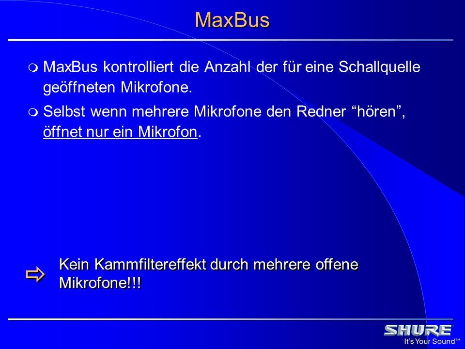 MaxBus MaxBus kontrolliert die Anzahl der für eine Schallquelle geöffneten Mikrofone.