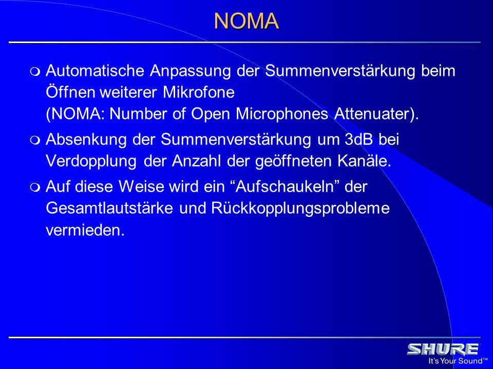 NOMA Automatische Anpassung der Summenverstärkung beim Öffnen weiterer Mikrofone (NOMA: Number of Open Microphones Attenuater).