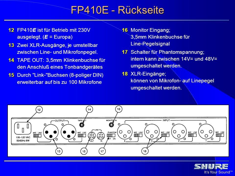 FP410E - Rückseite 12 FP410E ist für Betrieb mit 230V ausgelegt. (E = Europa) 13 Zwei XLR-Ausgänge, je umstellbar zwischen Line- und Mikrofonpegel.