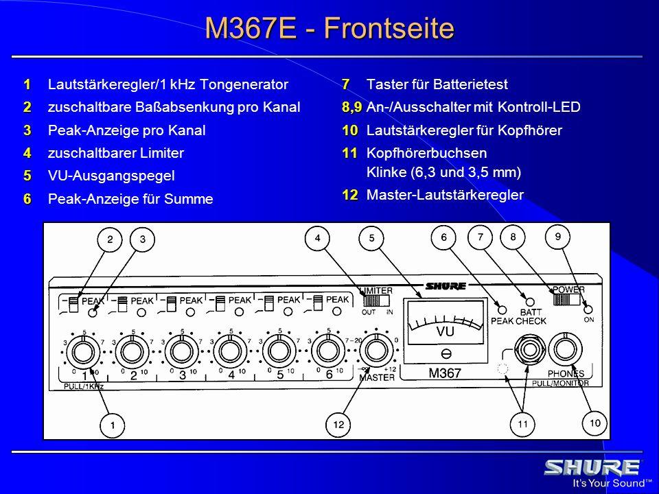 M367E - Frontseite 1 Lautstärkeregler/1 kHz Tongenerator