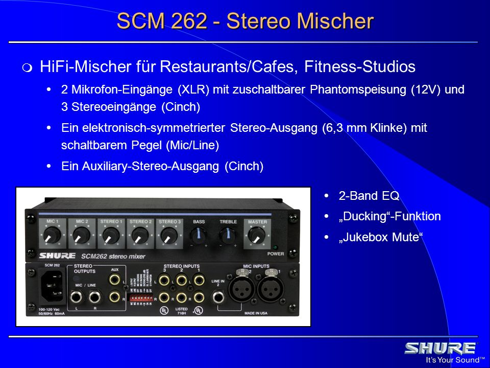 SCM 262 - Stereo Mischer HiFi-Mischer für Restaurants/Cafes, Fitness-Studios.