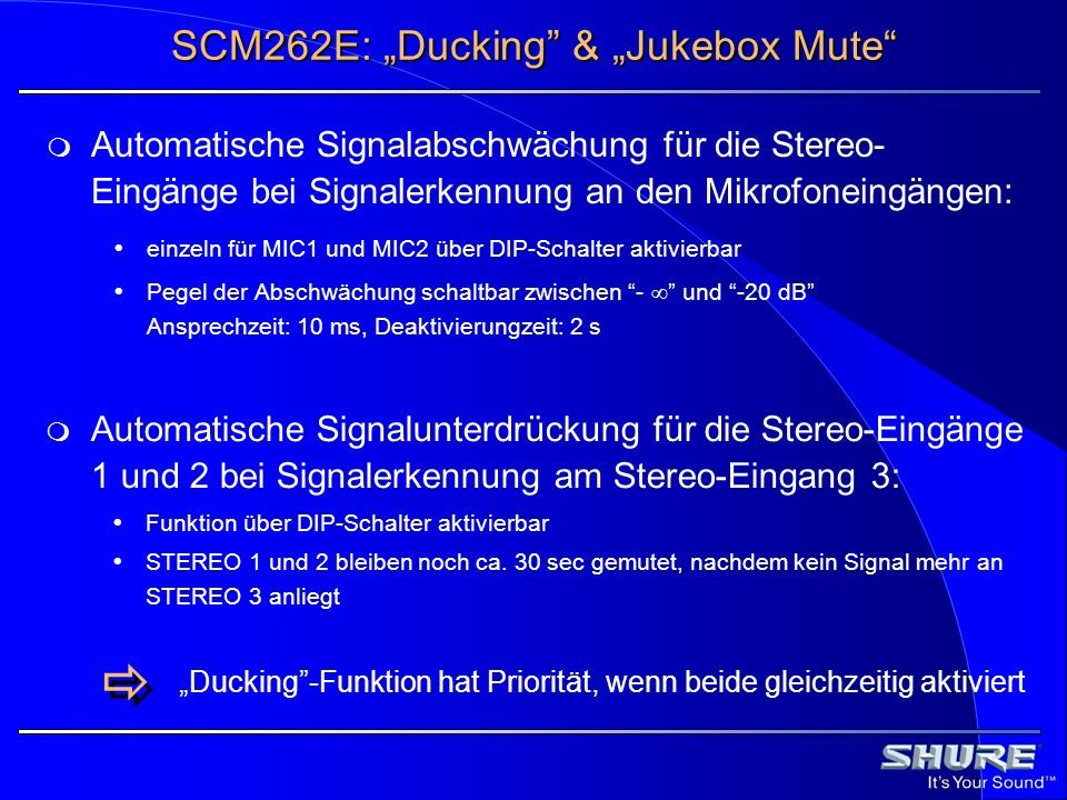 "SCM262E: ""Ducking & ""Jukebox Mute"