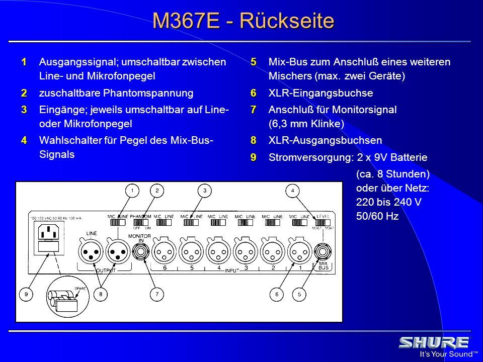 M367E - Rückseite 1 Ausgangssignal; umschaltbar zwischen Line- und Mikrofonpegel. 2 zuschaltbare Phantomspannung.