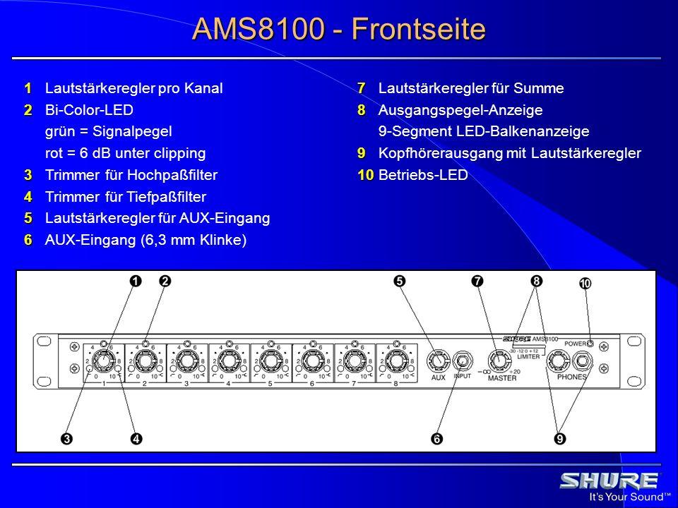 AMS8100 - Frontseite 1 Lautstärkeregler pro Kanal