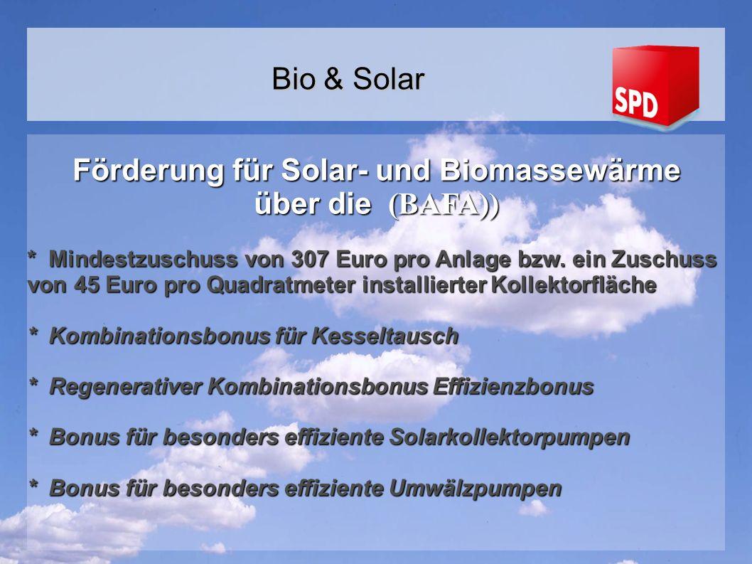 Förderung für Solar- und Biomassewärme über die (BAFA))