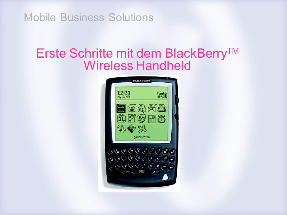 Erste Schritte mit dem BlackBerryTM Wireless Handheld
