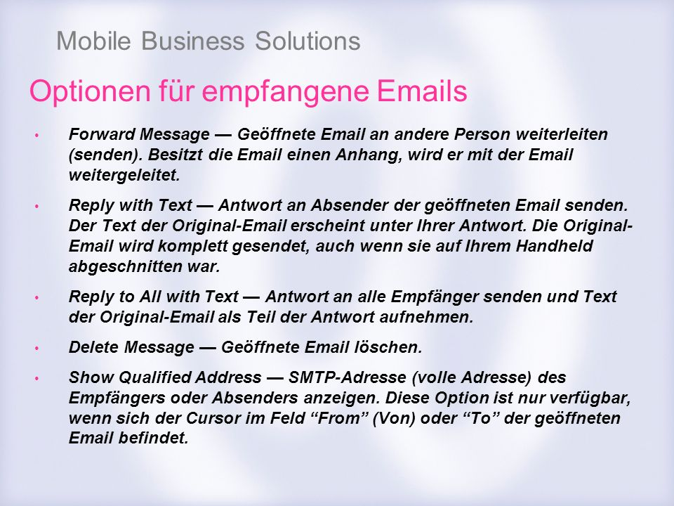 Optionen für empfangene Emails