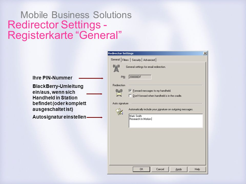 Redirector Settings - Registerkarte General
