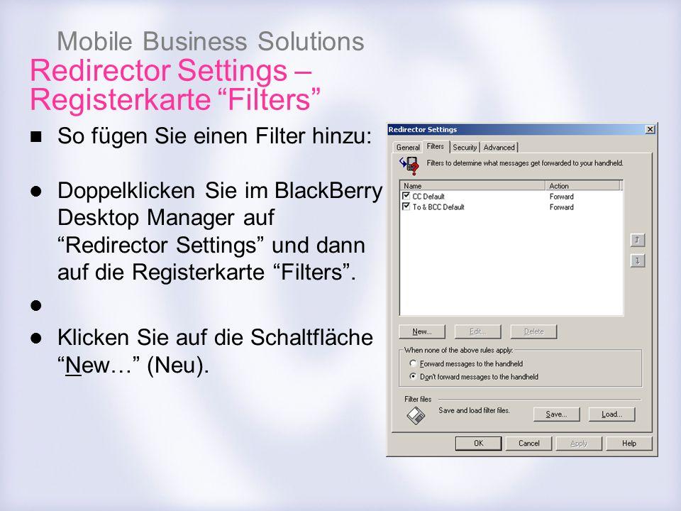 Redirector Settings – Registerkarte Filters
