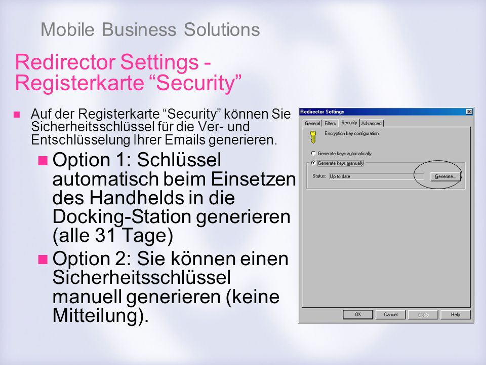 Redirector Settings - Registerkarte Security
