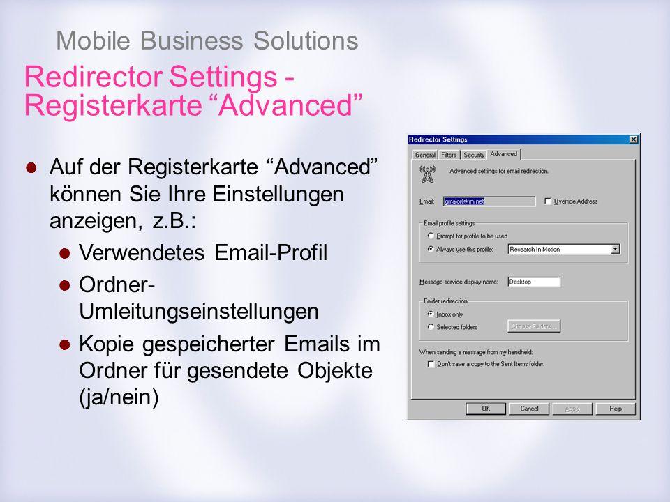 Redirector Settings - Registerkarte Advanced