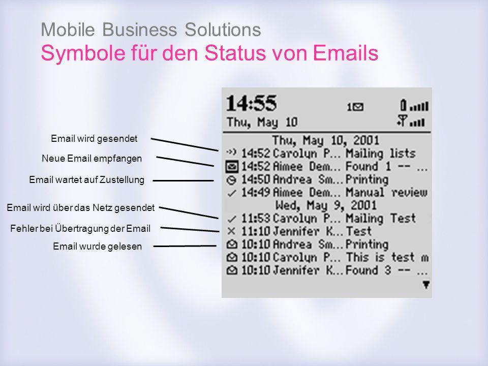 Symbole für den Status von Emails