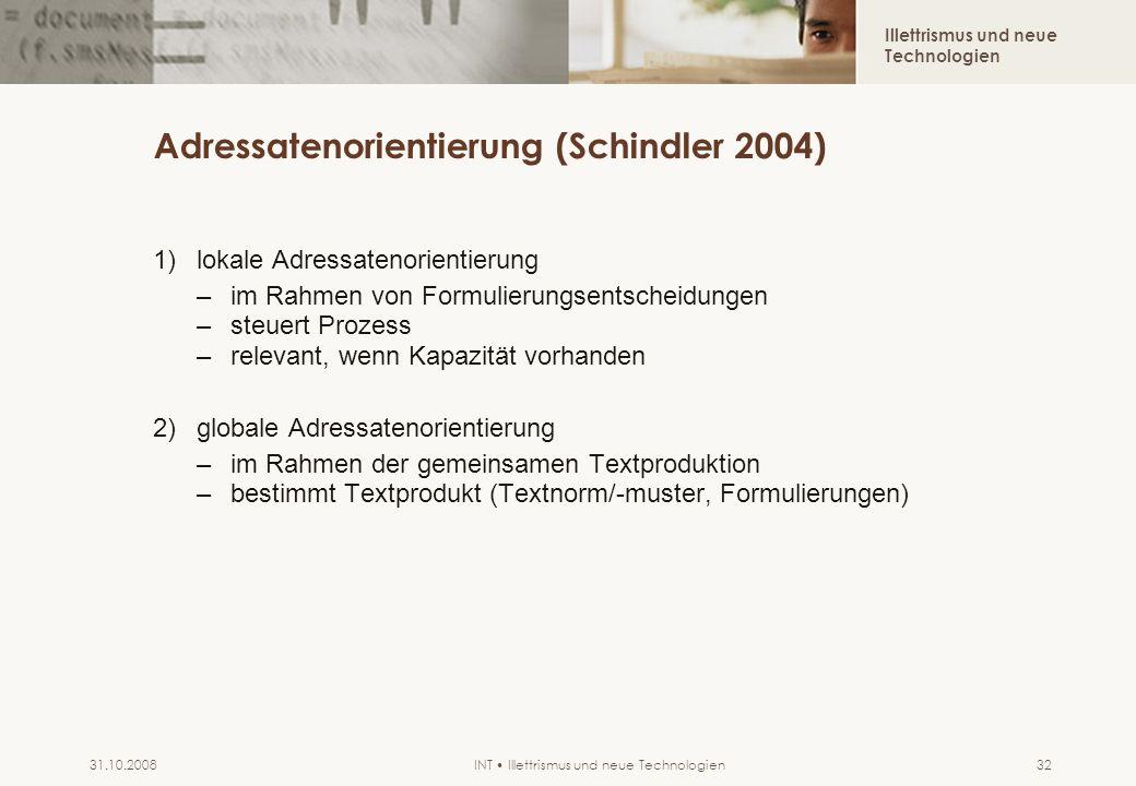 Adressatenorientierung (Schindler 2004)