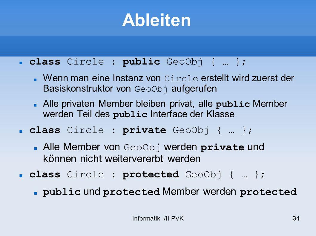 Ableiten class Circle : public GeoObj { … };