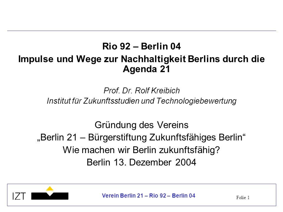 Impulse und Wege zur Nachhaltigkeit Berlins durch die Agenda 21
