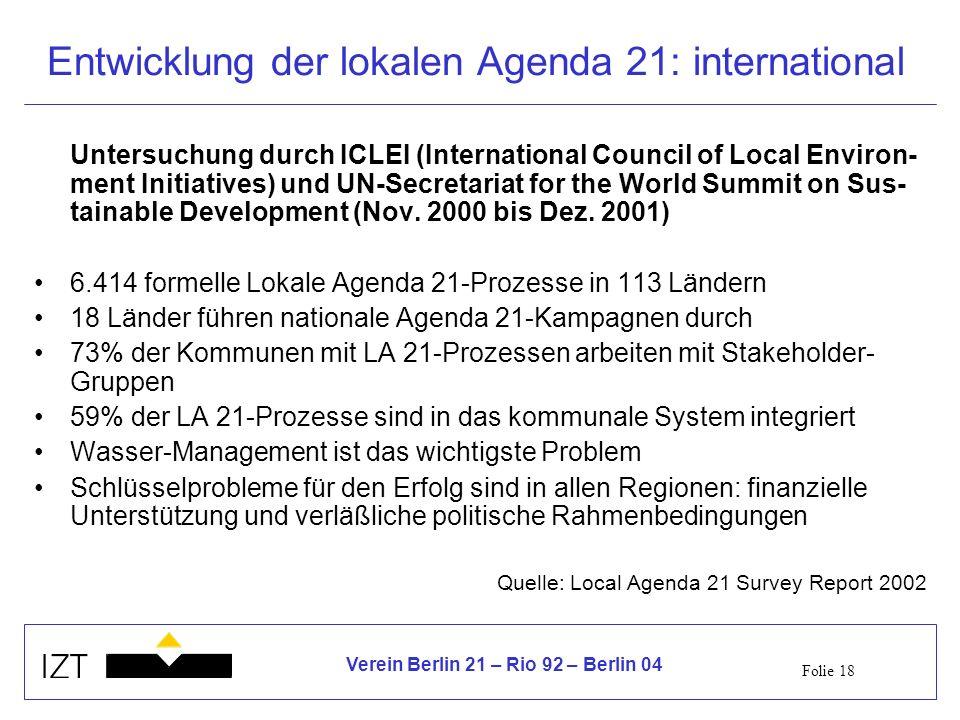 Entwicklung der lokalen Agenda 21: international