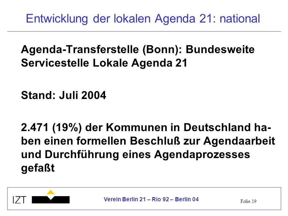 Entwicklung der lokalen Agenda 21: national