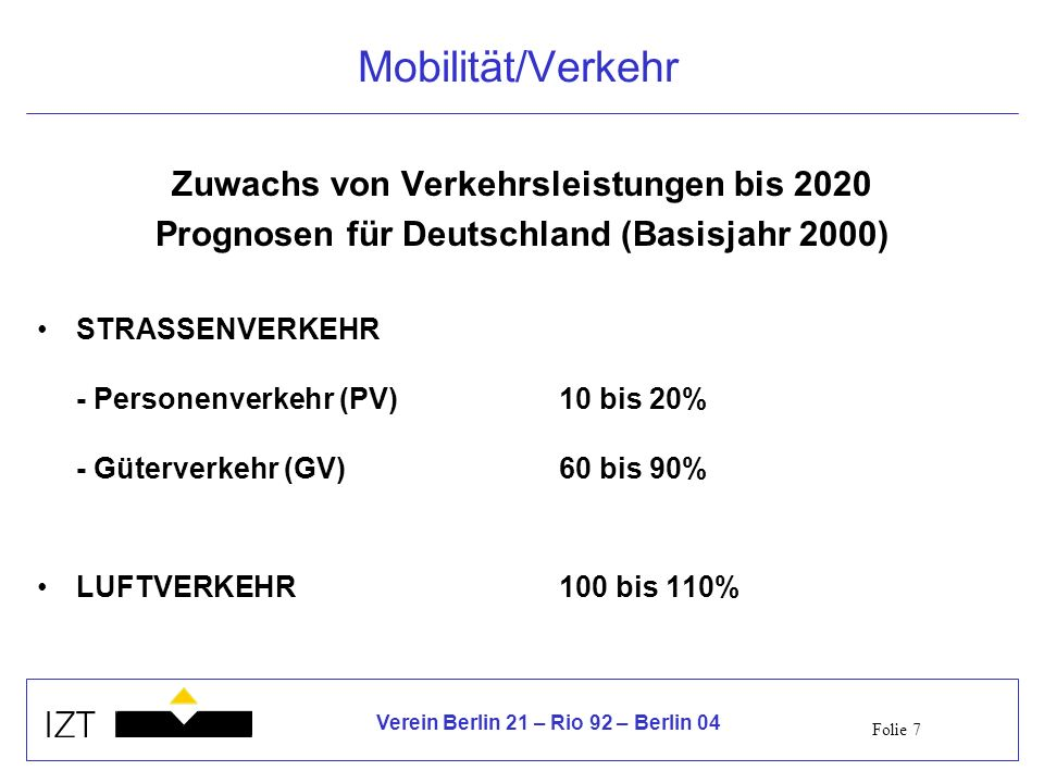 Mobilität/Verkehr Zuwachs von Verkehrsleistungen bis 2020