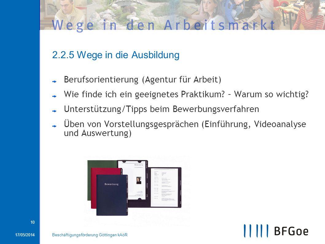 2.2.5 Wege in die Ausbildung Berufsorientierung (Agentur für Arbeit)