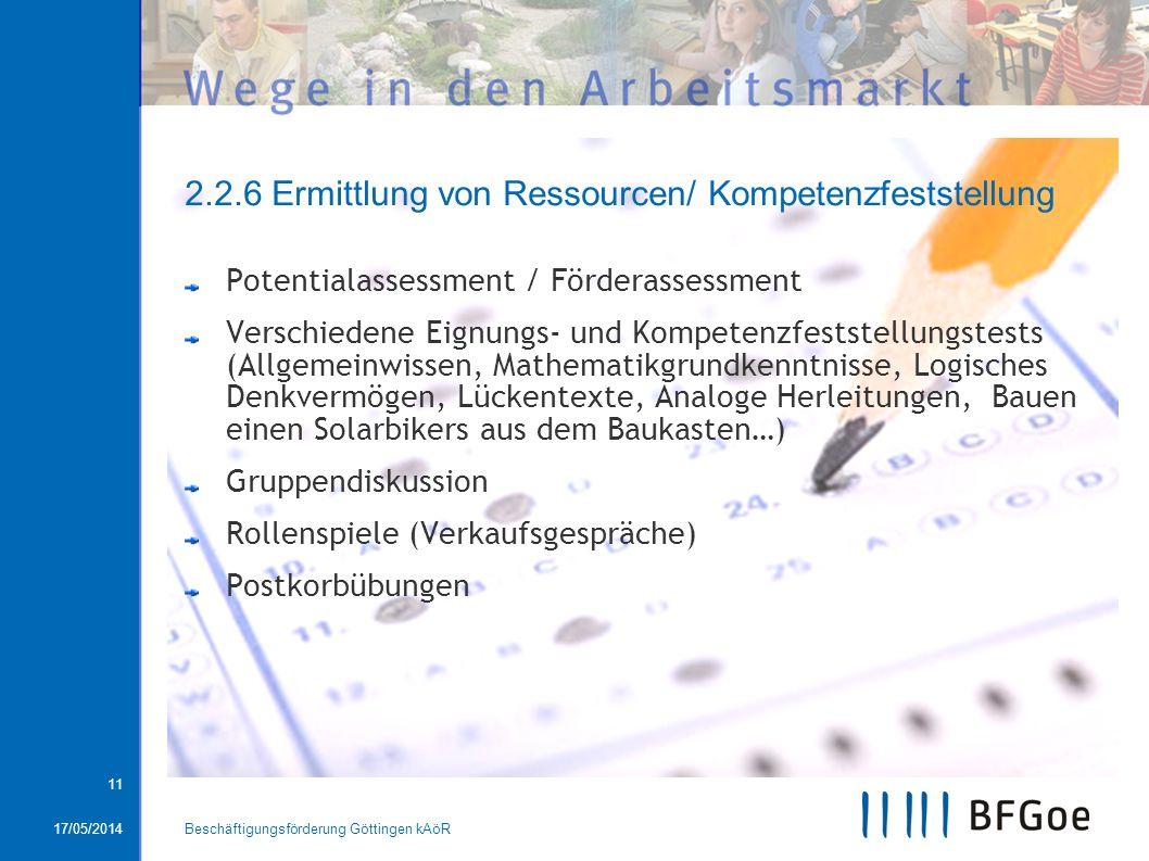2.2.6 Ermittlung von Ressourcen/ Kompetenzfeststellung