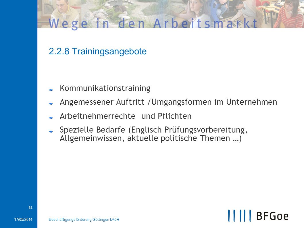 2.2.8 Trainingsangebote Kommunikationstraining