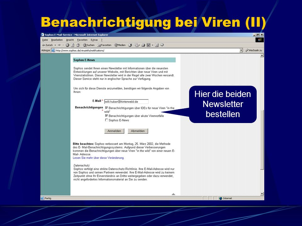 Benachrichtigung bei Viren (II)