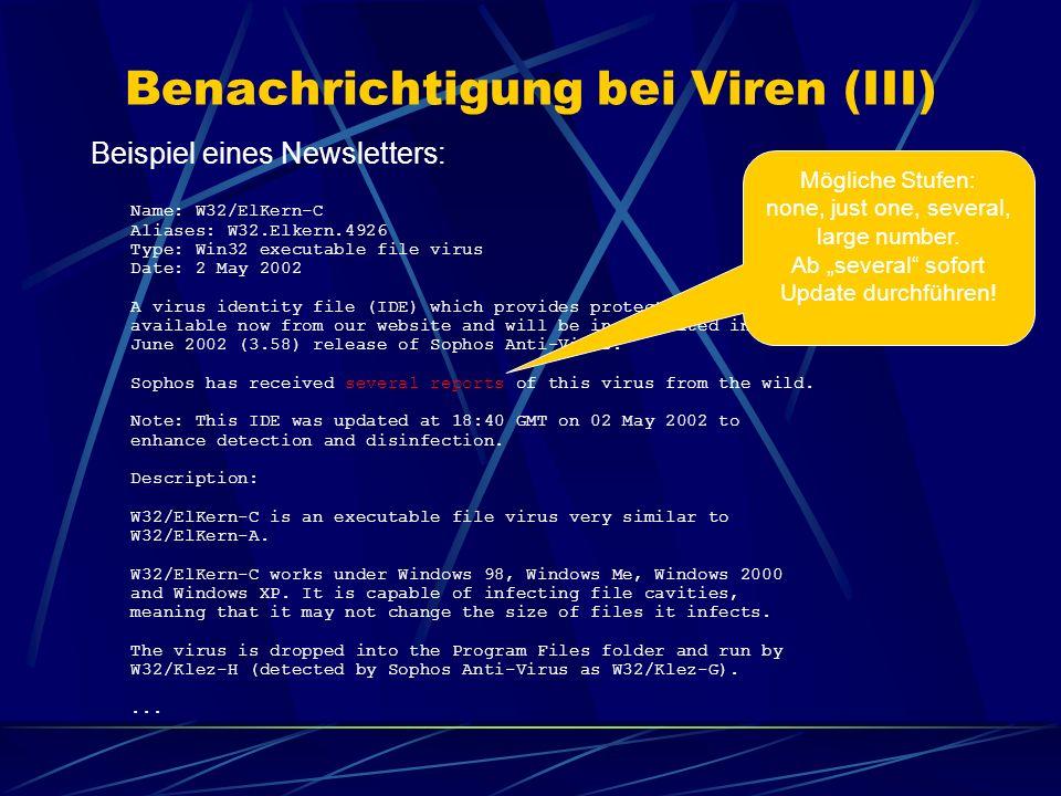 Benachrichtigung bei Viren (III)