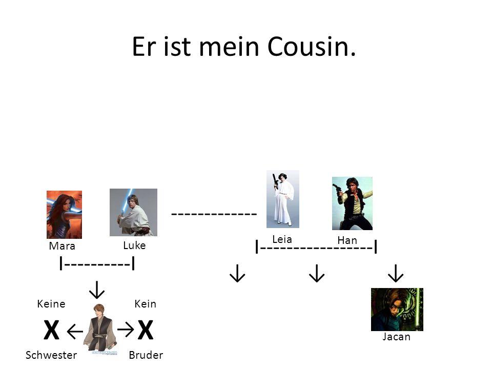 Er ist mein Cousin. X X ------------- I-----------------I ↓ ↓ ↓
