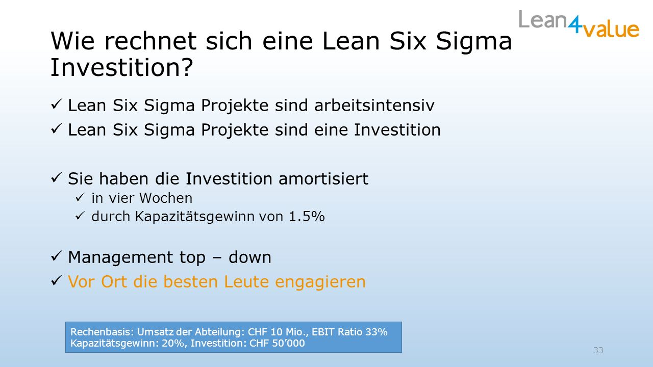 Wie rechnet sich eine Lean Six Sigma Investition