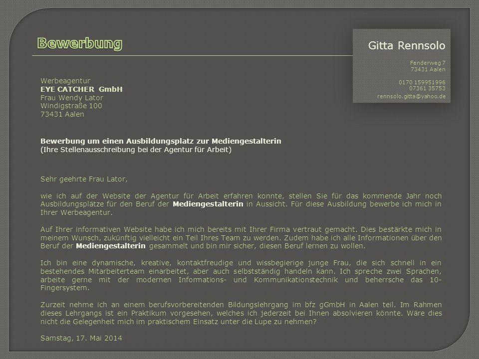 Bewerbung Gitta Rennsolo Werbeagentur EYE CATCHER GmbH