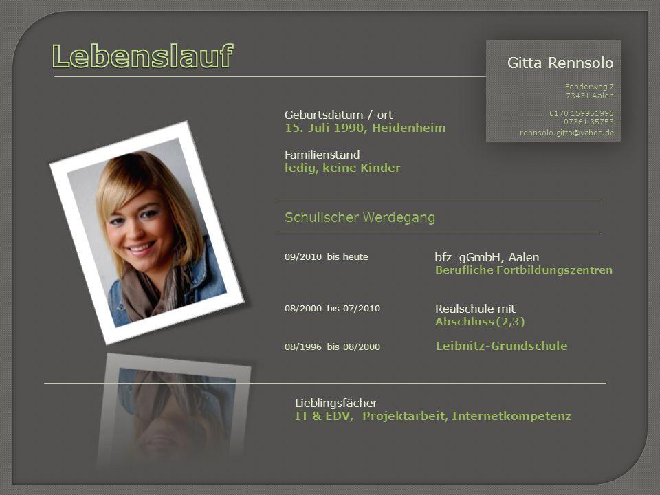 Lebenslauf Gitta Rennsolo Schulischer Werdegang Geburtsdatum /-ort