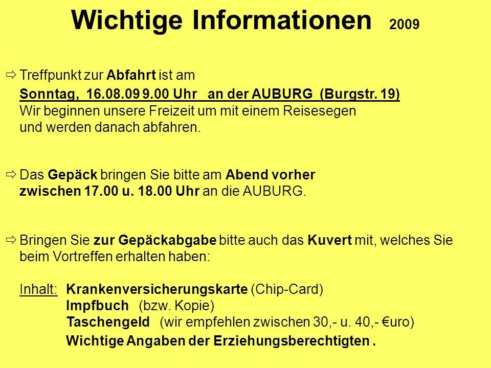 Wichtige Informationen 2009