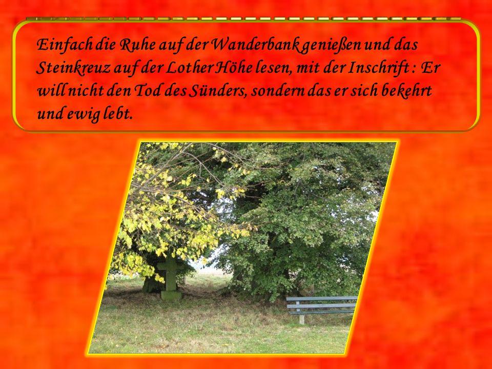 Einfach die Ruhe auf der Wanderbank genießen und das Steinkreuz auf der Lother Höhe lesen, mit der Inschrift : Er will nicht den Tod des Sünders, sondern das er sich bekehrt und ewig lebt.