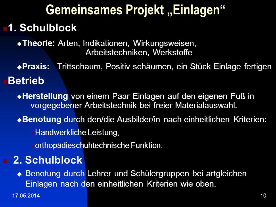 """Gemeinsames Projekt """"Einlagen"""