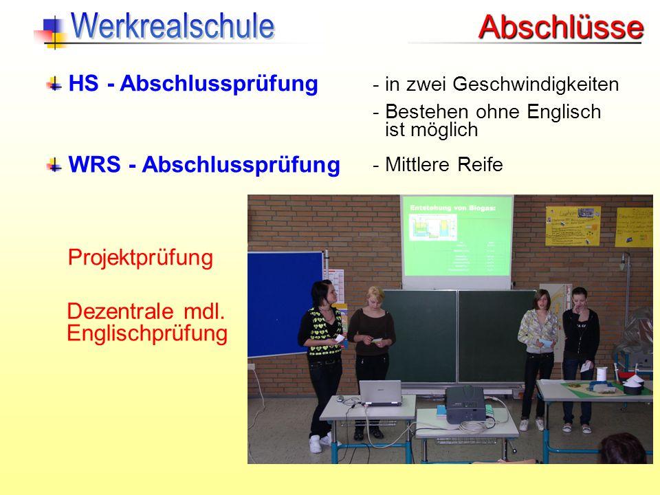 Werkrealschule Abschlüsse HS - Abschlussprüfung WRS - Abschlussprüfung
