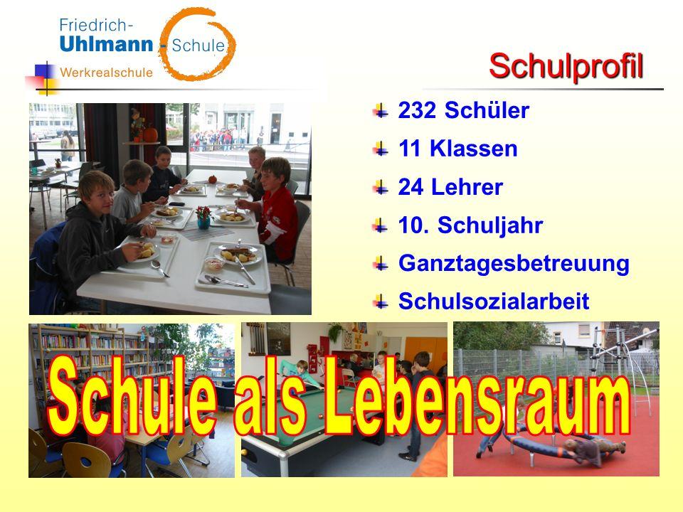 Schule als Lebensraum Schulprofil 232 Schüler 11 Klassen 24 Lehrer