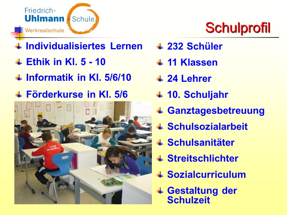 Schulprofil Individualisiertes Lernen 232 Schüler Ethik in Kl. 5 - 10