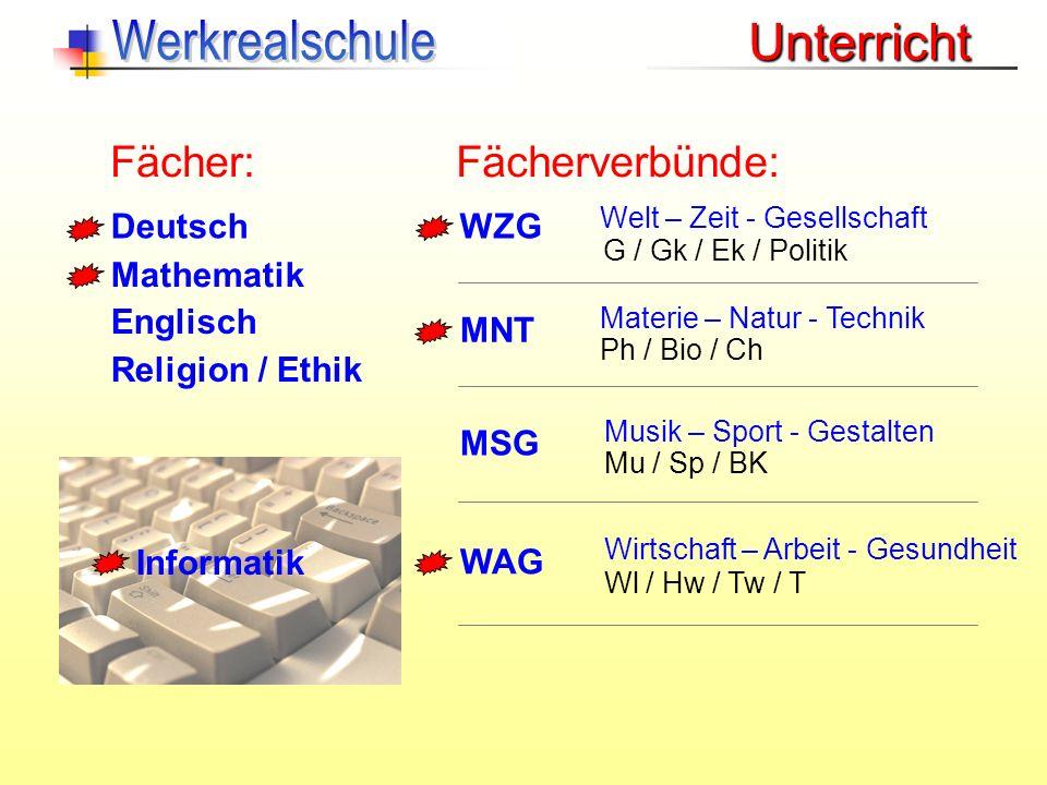 Werkrealschule Unterricht Fächer: Fächerverbünde: Deutsch WZG