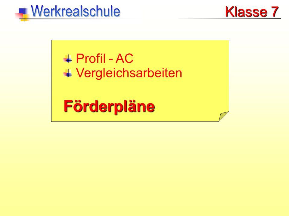 Förderpläne Werkrealschule Klasse 7 Profil - AC Vergleichsarbeiten