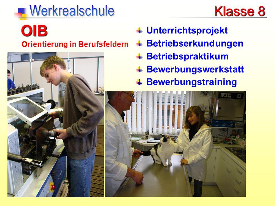 OIB Werkrealschule Klasse 8 Unterrichtsprojekt Betriebserkundungen
